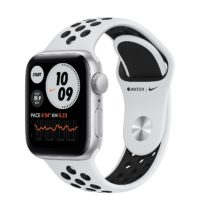 Apple Watch Nike SE GPS mm Silver Aluminium Case with Pure Platinum Black Nike Sport Band Regular MYYDNF A